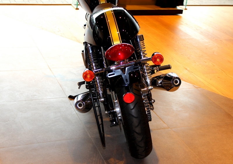 Tail end is identical to the Bonneville, except for the pillion cowl