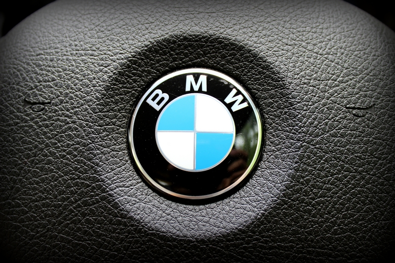 BMW logo on the steering