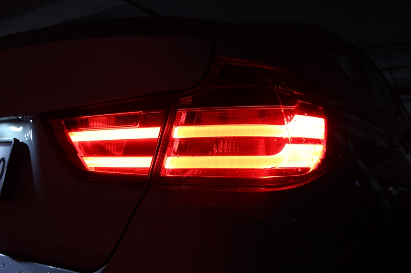 Tail lamps, night view