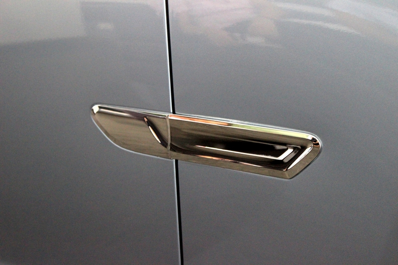 Chrome ornament on the side panel