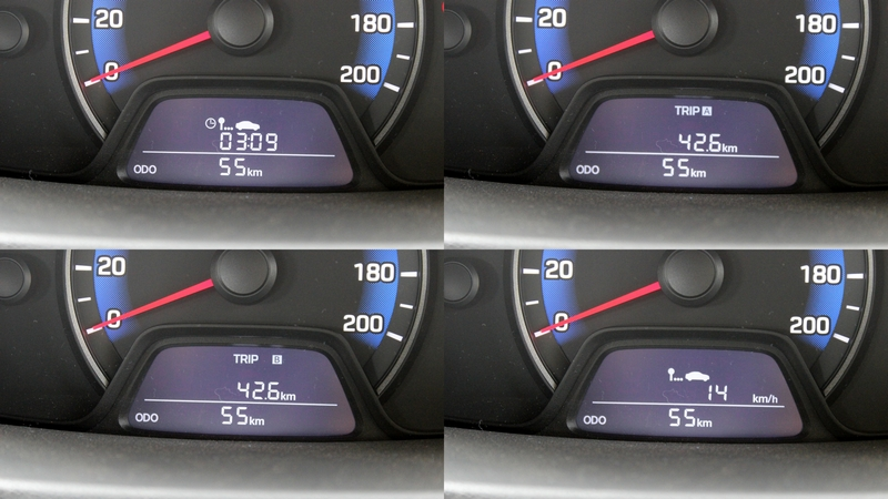MID shows: two trip meters, average speed and engine running time and the odometer reading
