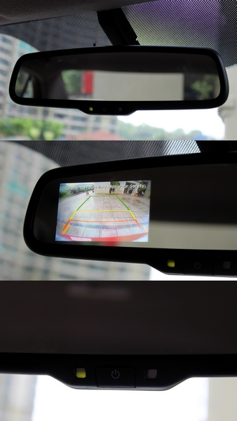 Electrochromic rear view mirror has an integrated reversing camera display