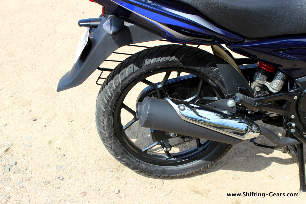 Rear mudguard is long enough to avoid spray during monsoon