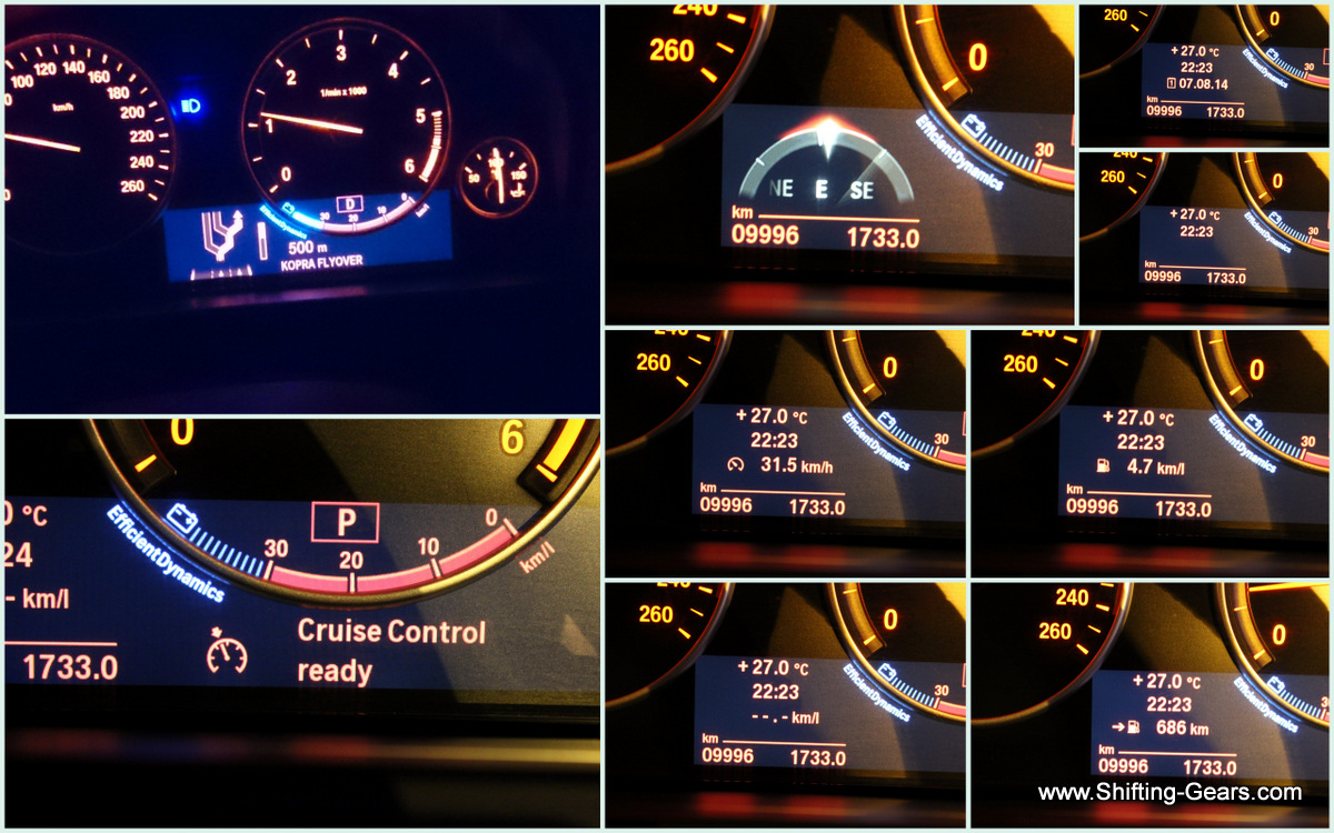 Instrument cluster shows data such as the direction in which the car is moving, average running time, instantaneous fuel efficiency, average fuel efficiency, date, DTE, cruise control activity and also the next change in direction when using the navigation