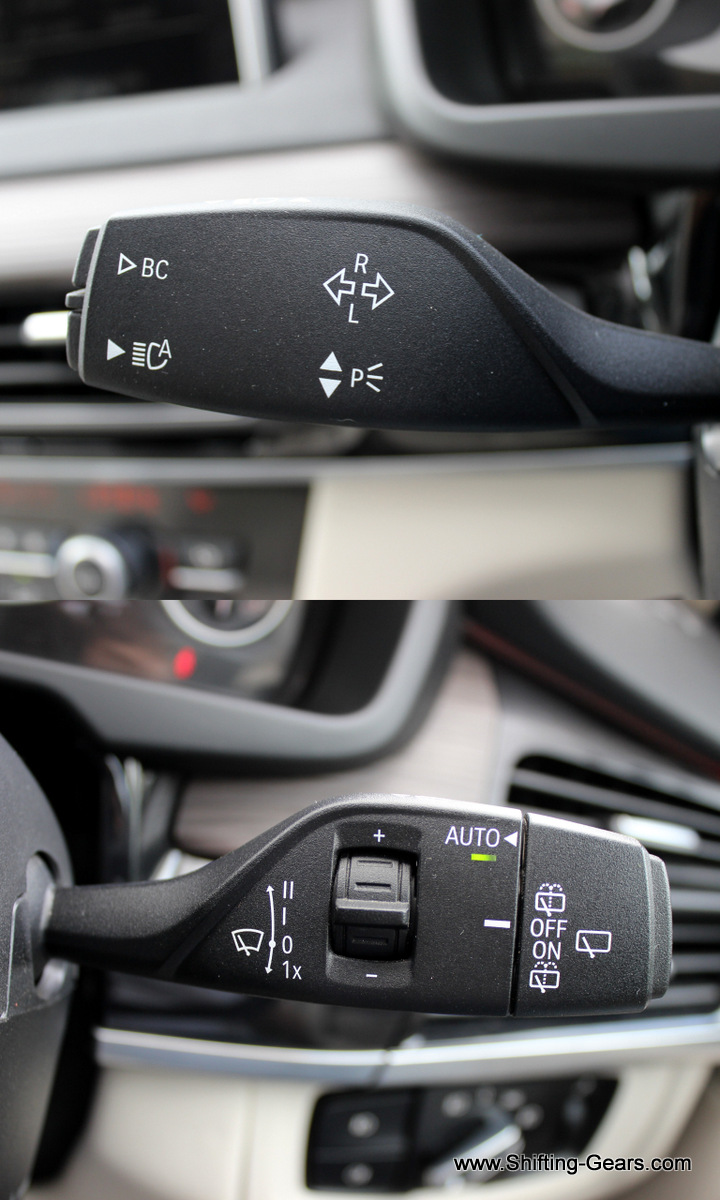 LHS control stalk head toggles the MID and automatic headlamps along with the indicators + high beam. RHS control stalk takes car of the front and rear wipers and the front windscreen washer.