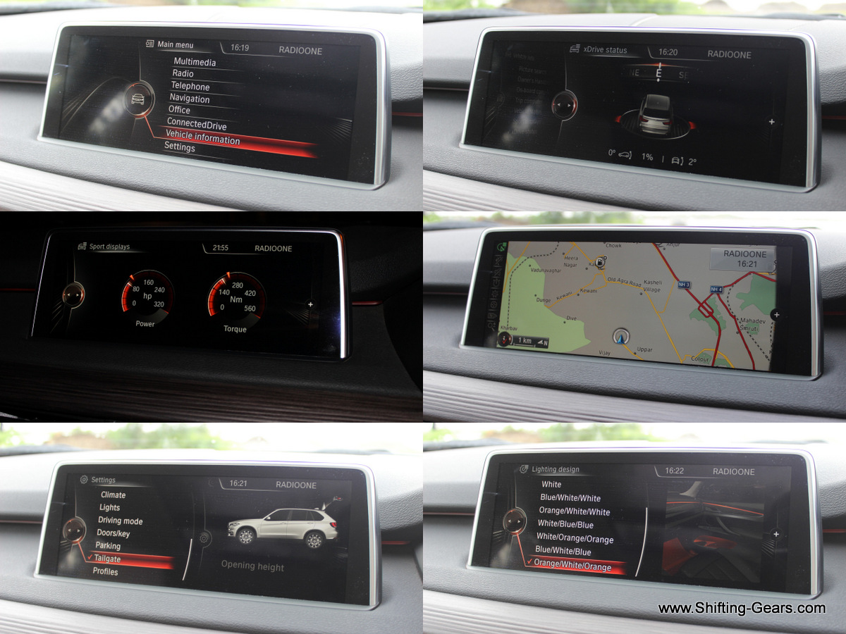 Infotainment screen displays data such as vehicle information, xDrive status showing the terrain undulations, navigation, sport displays showing how much torque and power is being used, colour combinations for the ambient lighting and more
