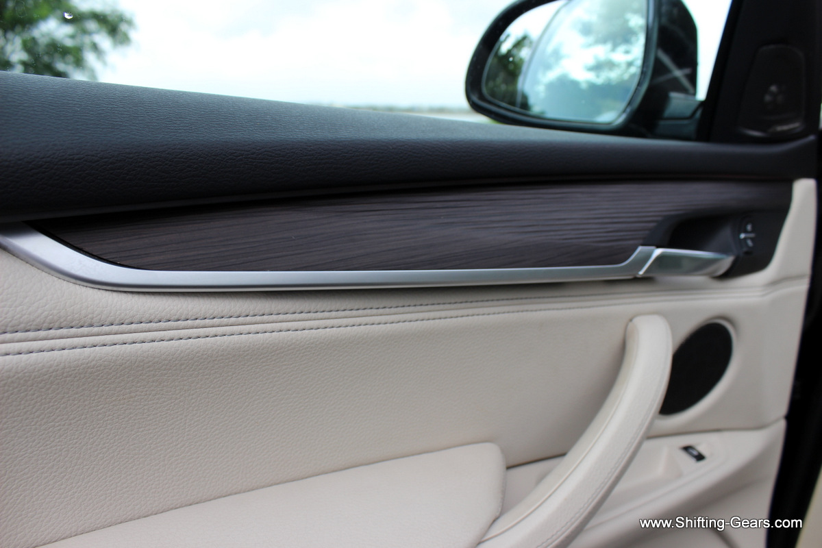 Close look at the wooden trim