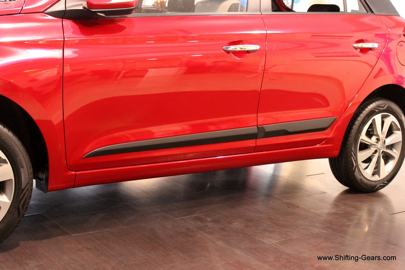 The car gets side body mouldings in black and are not as chunky as seen on the Grand i10