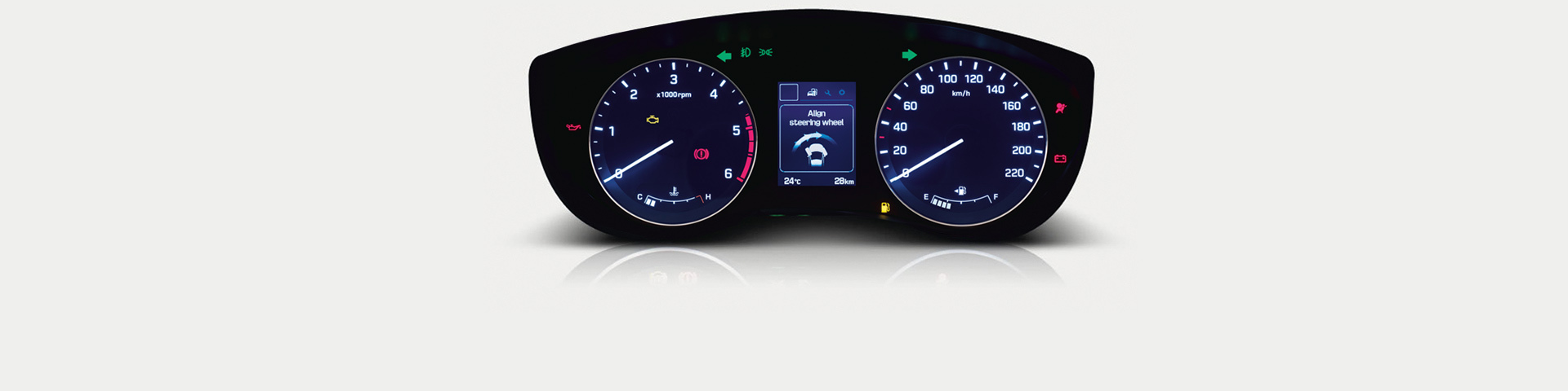 Hyundai Elite instrument cluster with MID