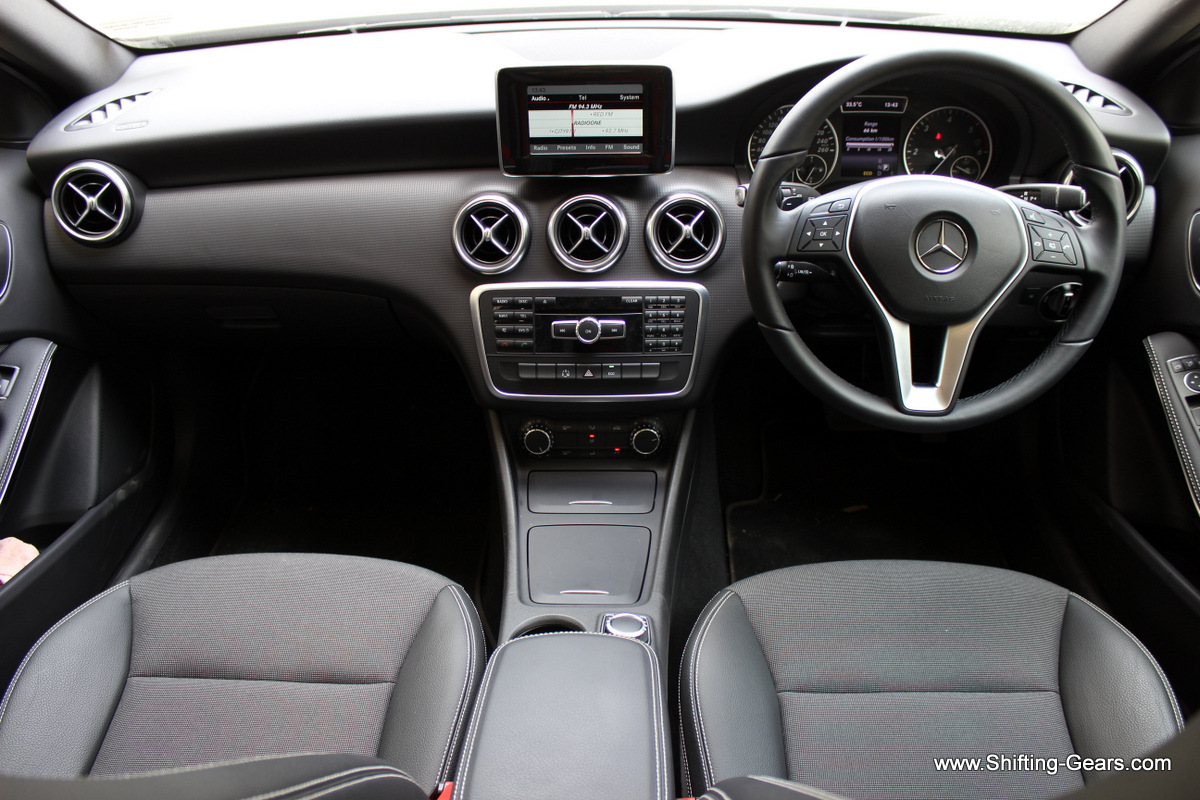 Dashboard remains identical to the regular A Class. It continues with the all-black interior colour scheme.