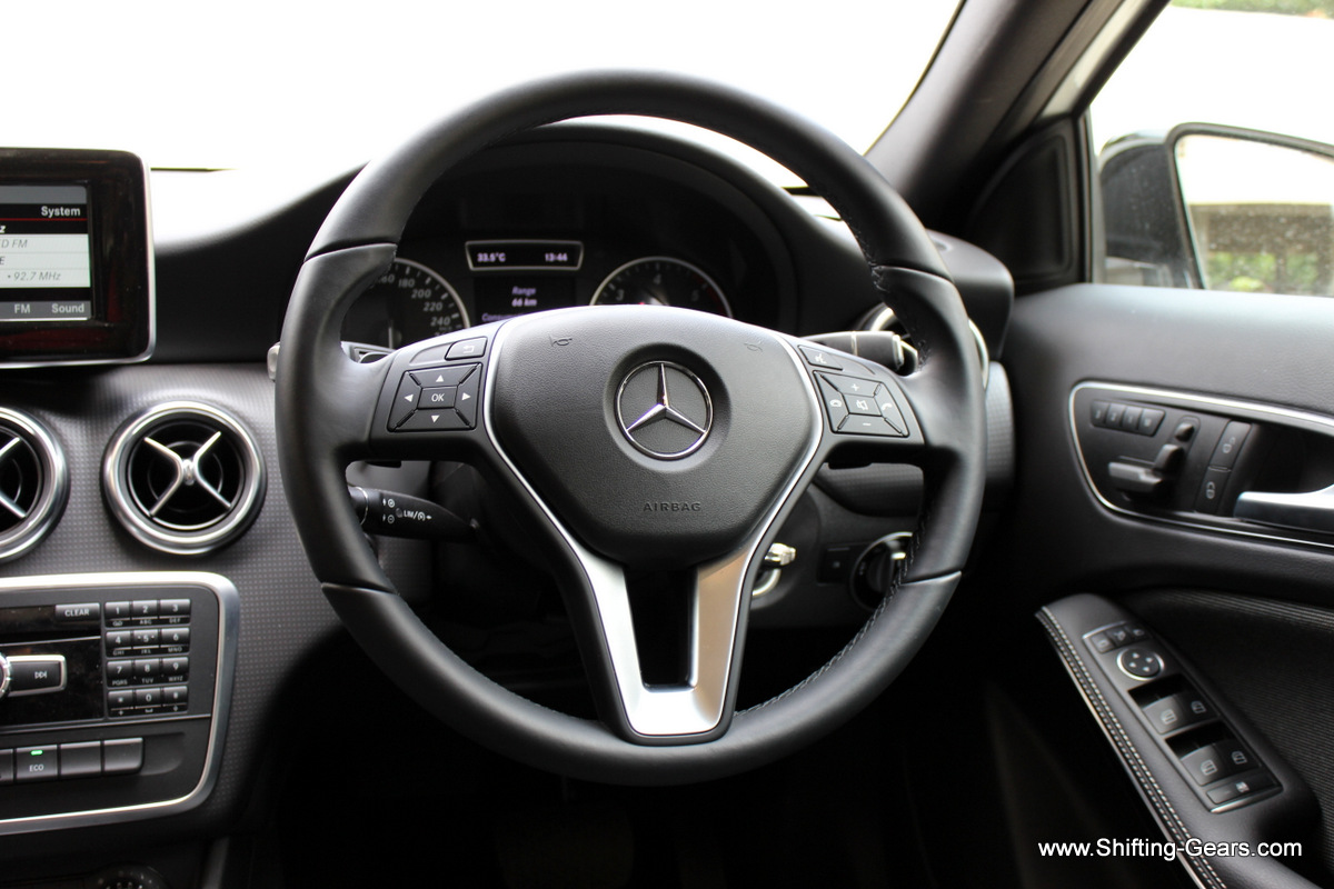 Steering wheel is identical in design, but misses out on the perforated grip on the 9 & 3 position