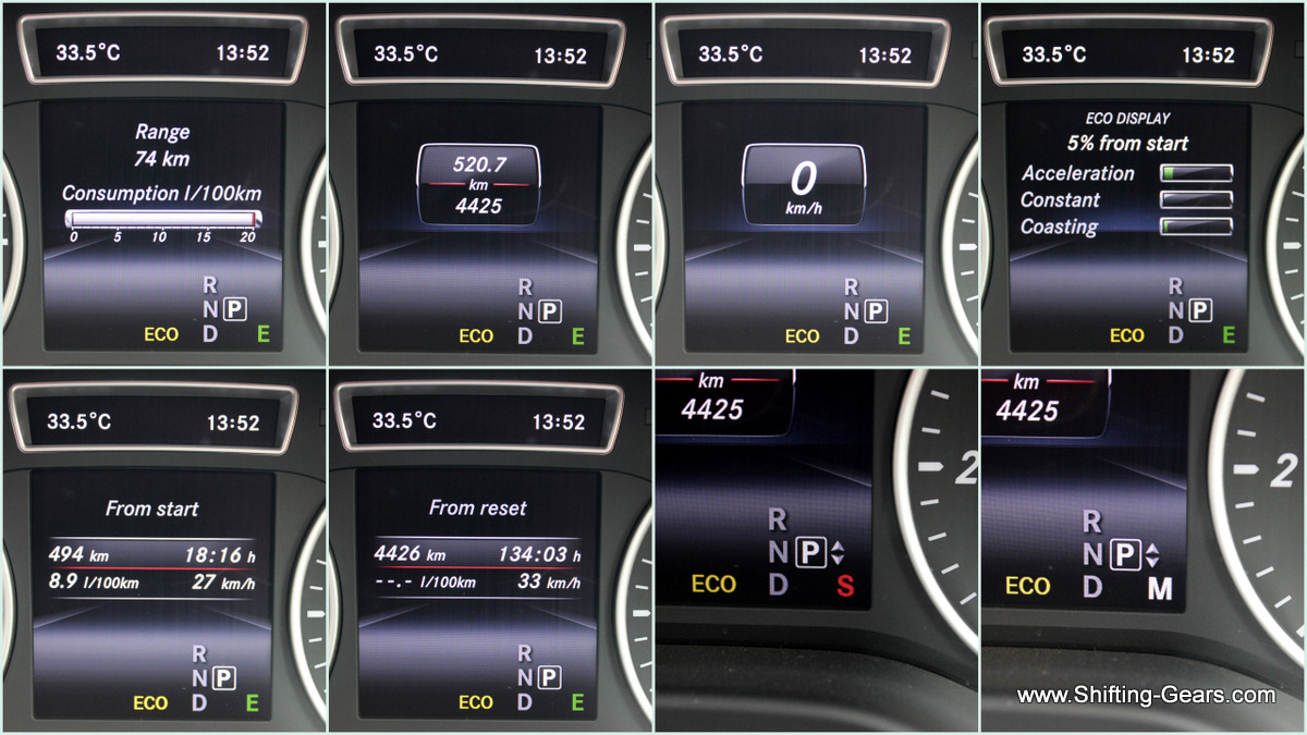 MID in the instrument cluster displays: DTE, real time fuel efficiency, trip meter, odometer, digital speed, ECO mode display, travel time from start, selected gear and the selected driving mode.