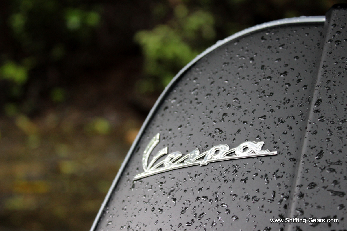 Vespa badge on the front apron