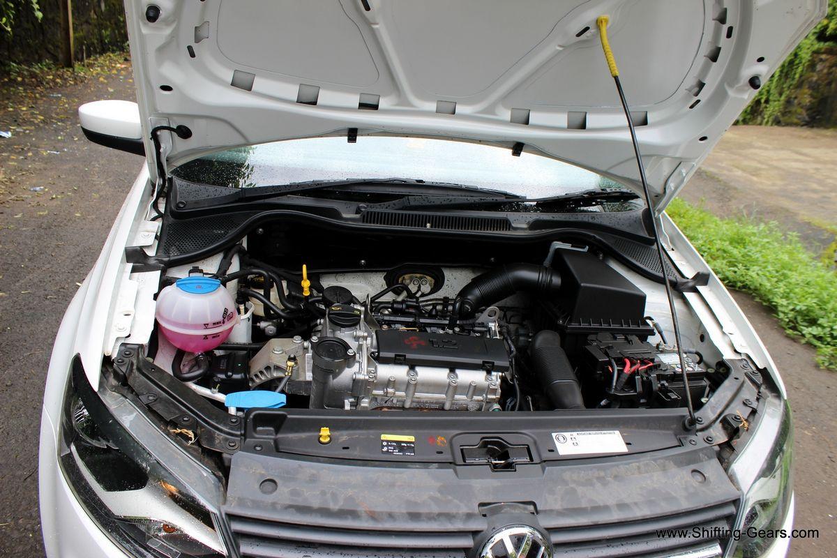 The petrol engine bay