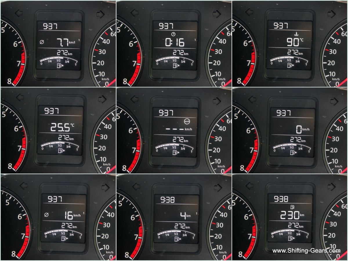 MID displays instantaneous fuel efficiency, time, engine temperature, outside temperature, average speed, speed, DTE and trip meter