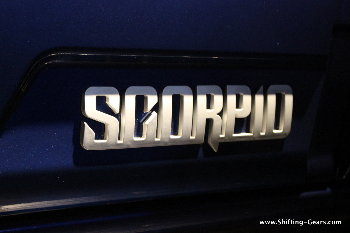 Scorpio branding on the side body moulding