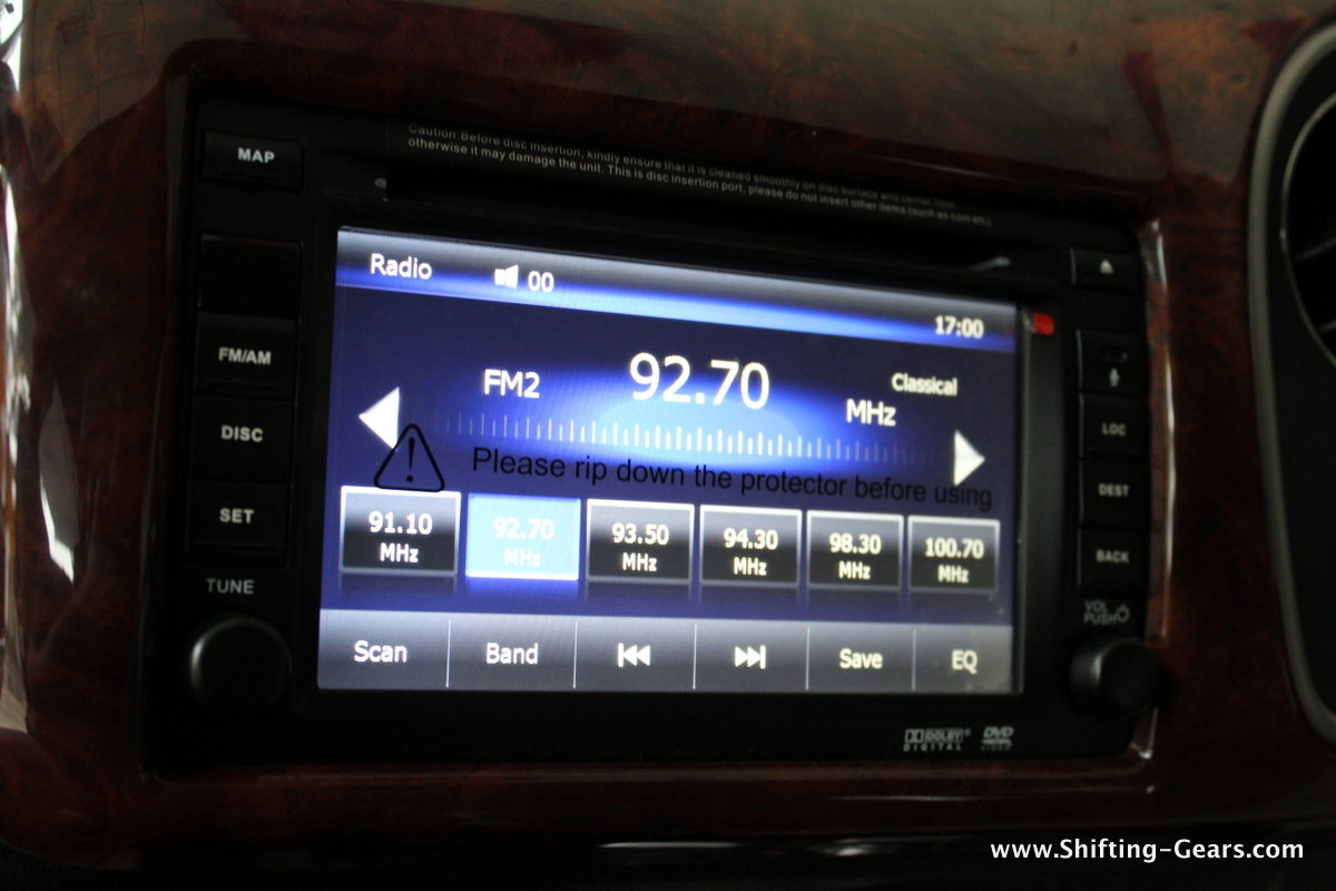 15.7cm dual din, touch screen head unit on the Mobilio RS
