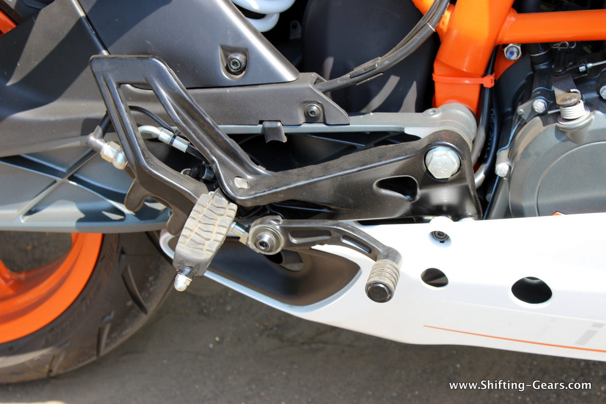 Rear set rider foot pegs and the brake pedal