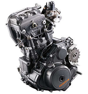 Single-cylinder, 4-stroke, water-cooled, 373.2cc, petrol engine producing 43 BHP of power
