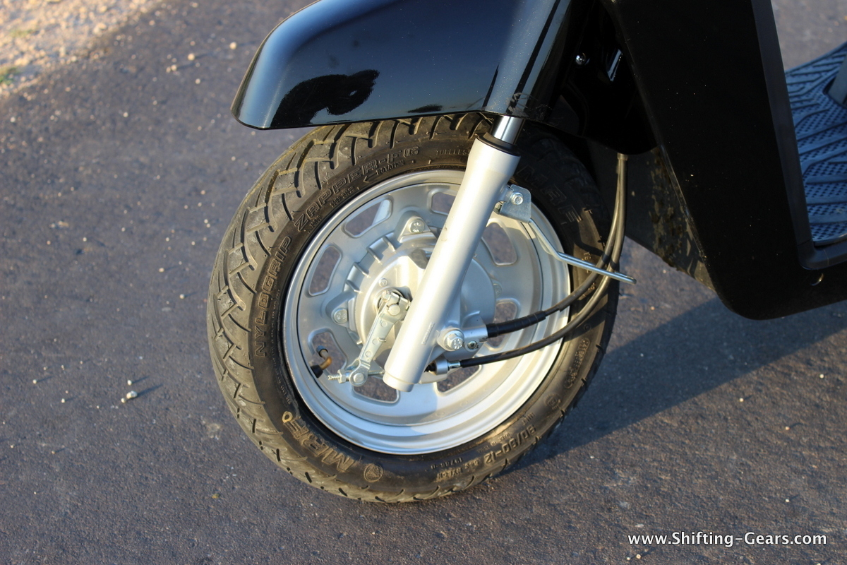 """Telescopic front suspension and 12"""" wheels"""