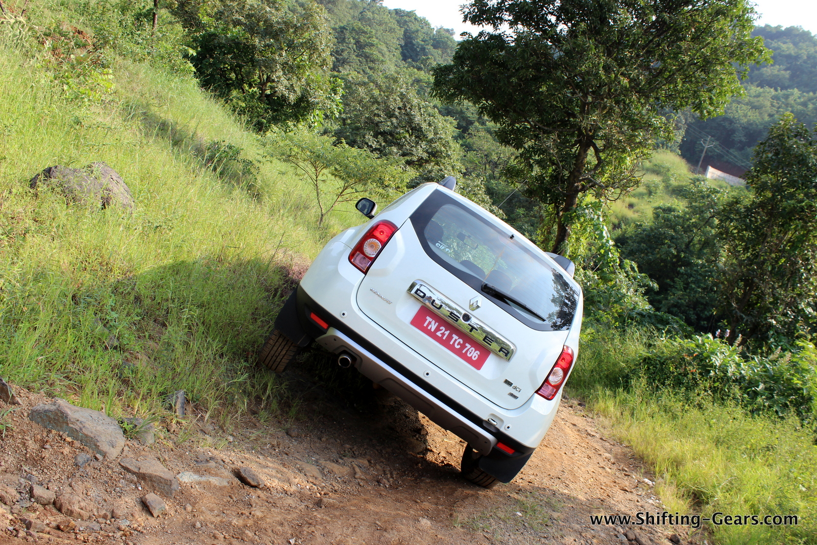 The car remains composed while tackling uneven terrain