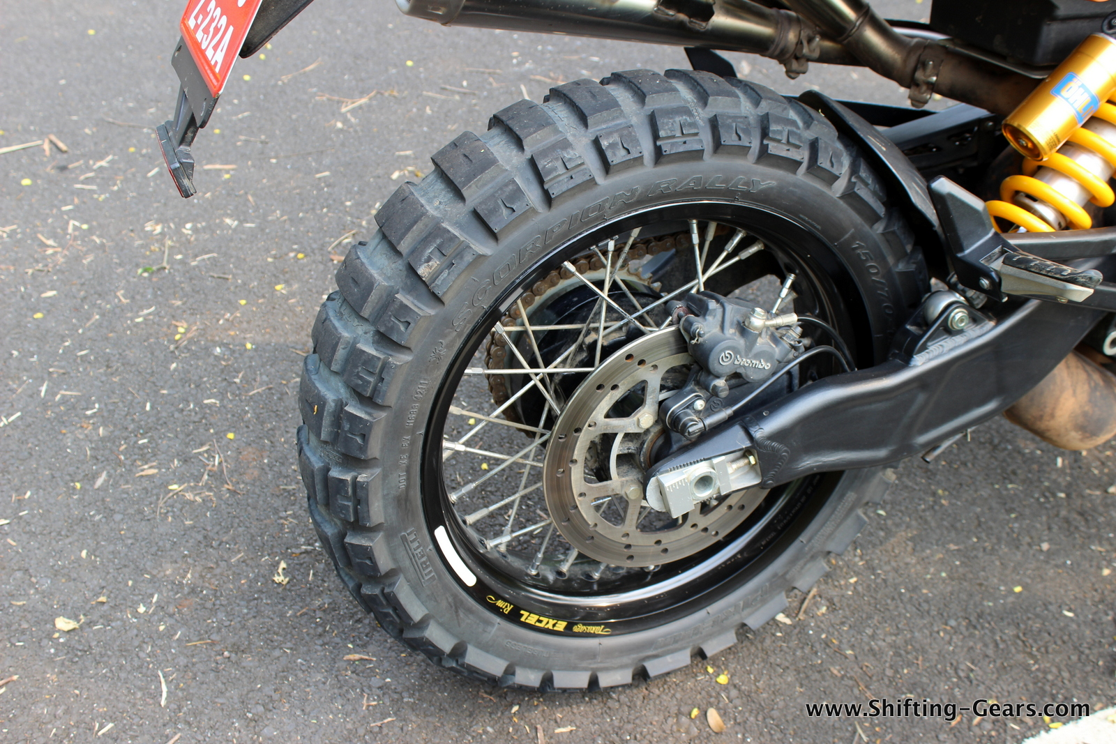 Knobby tyres work perfect on bad roads, but lack feedback on highways