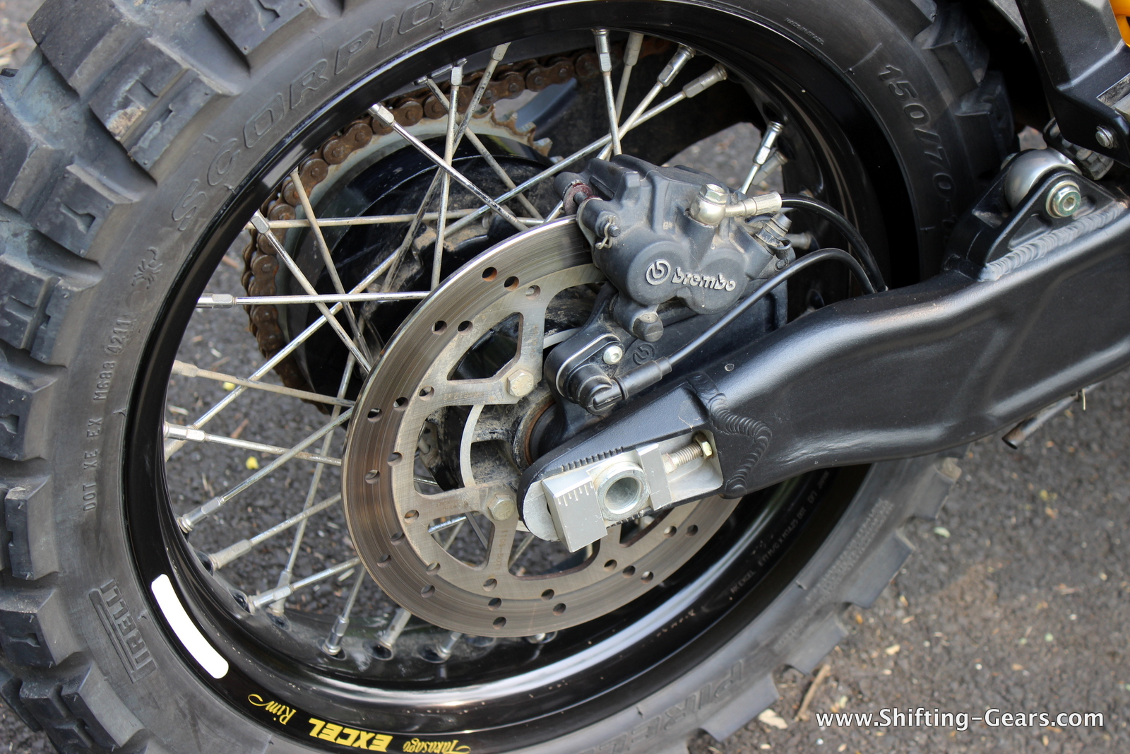 "Rear end gets a 255mm single disc brake mounted on 17"" wheels"