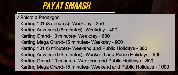 smaaash-karting-rates
