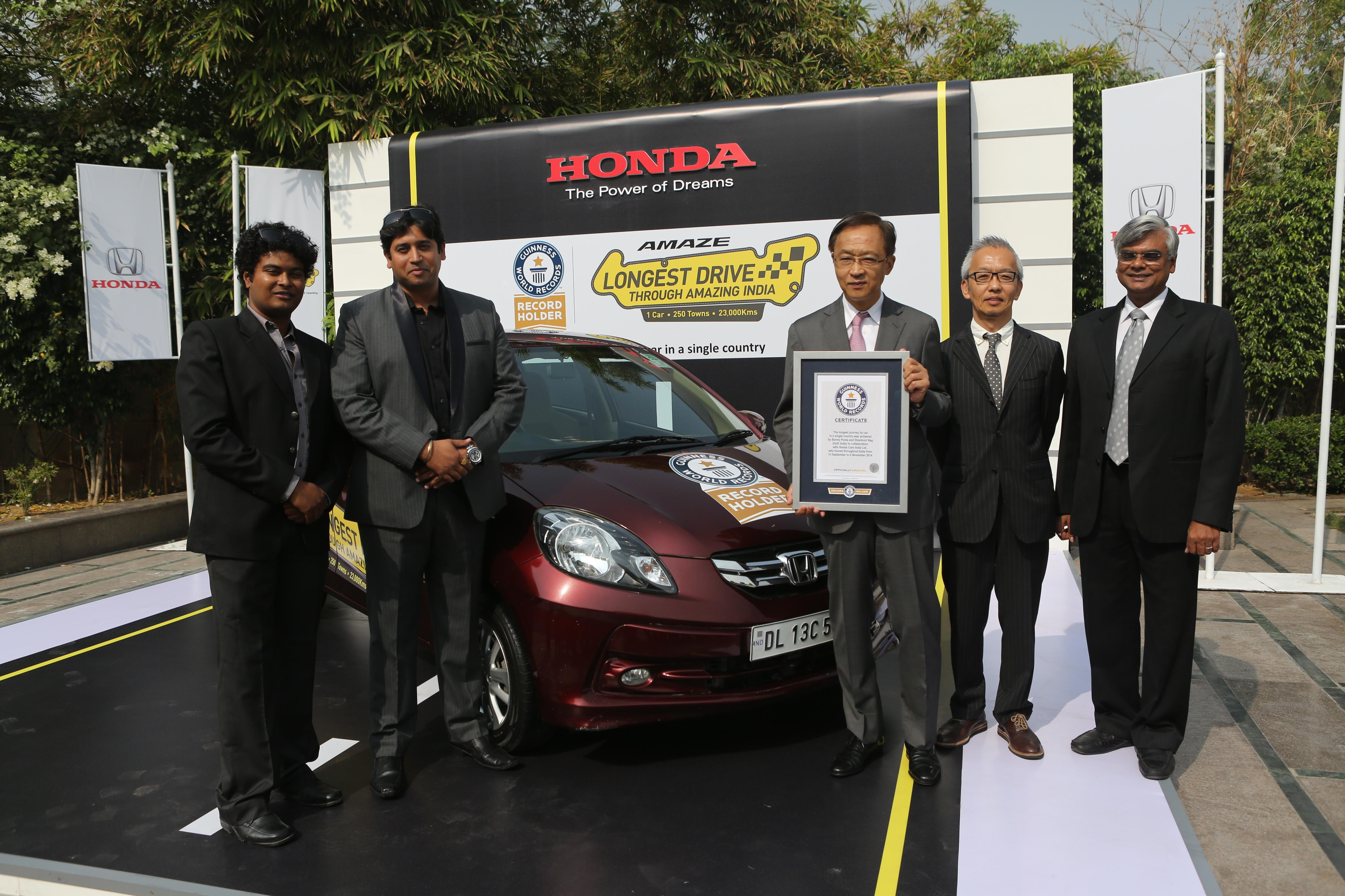 Honda Amaze in the Guinness book of world records
