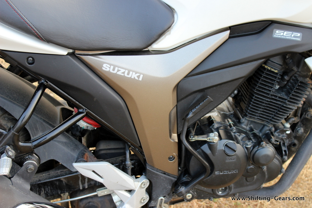 A small Suzuki decal on the side panel