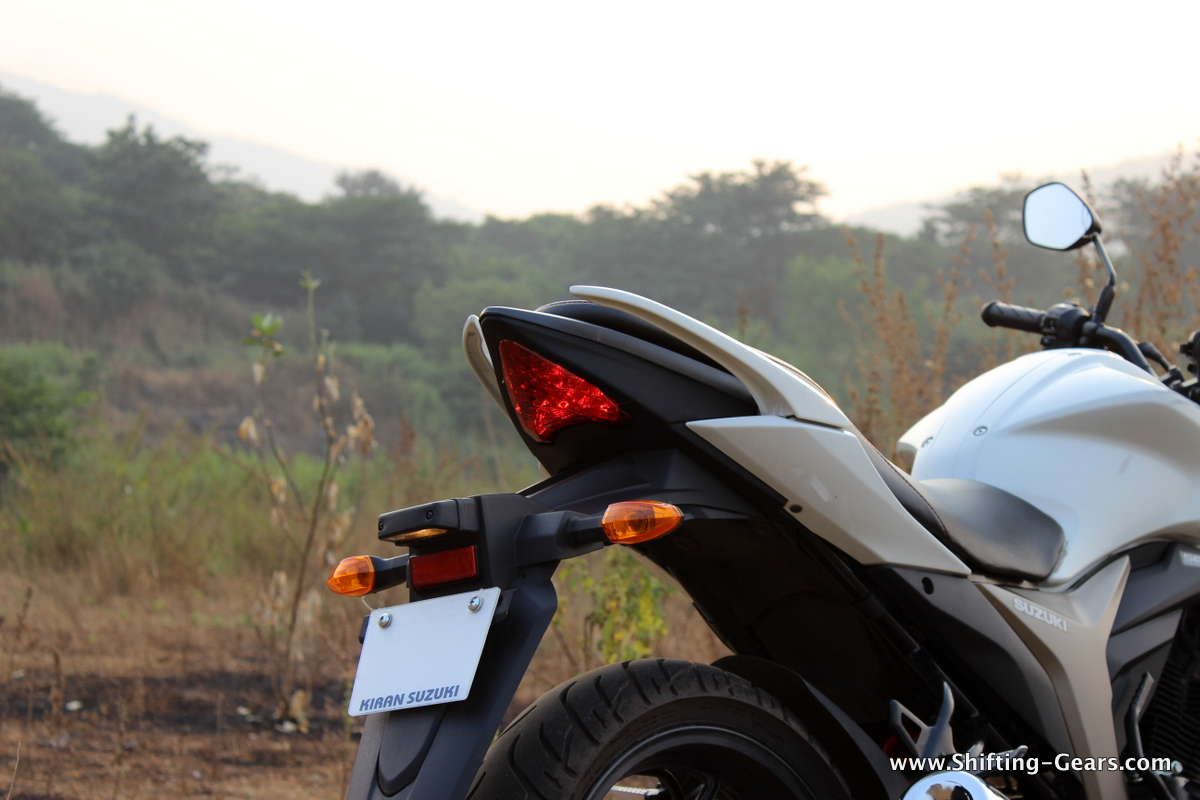 Rear three quarter view of the Gixxer is amongst the best looking in the segment
