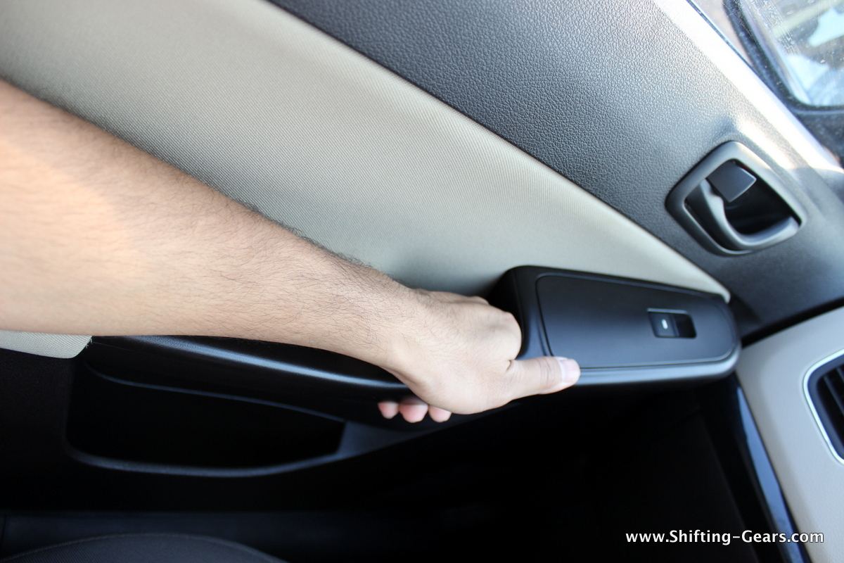 Also, you can comfortable hold the door handle rather than the assist grip above the window
