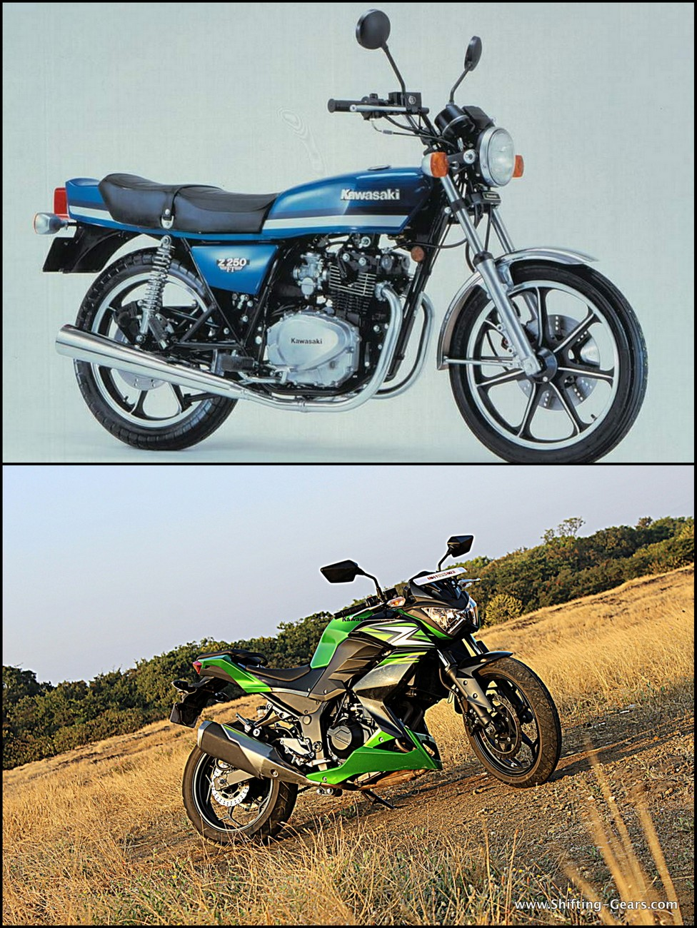 First-generation Kawasaki Z250 (top) with the 2014 Kawasaki Z250 (bottom)