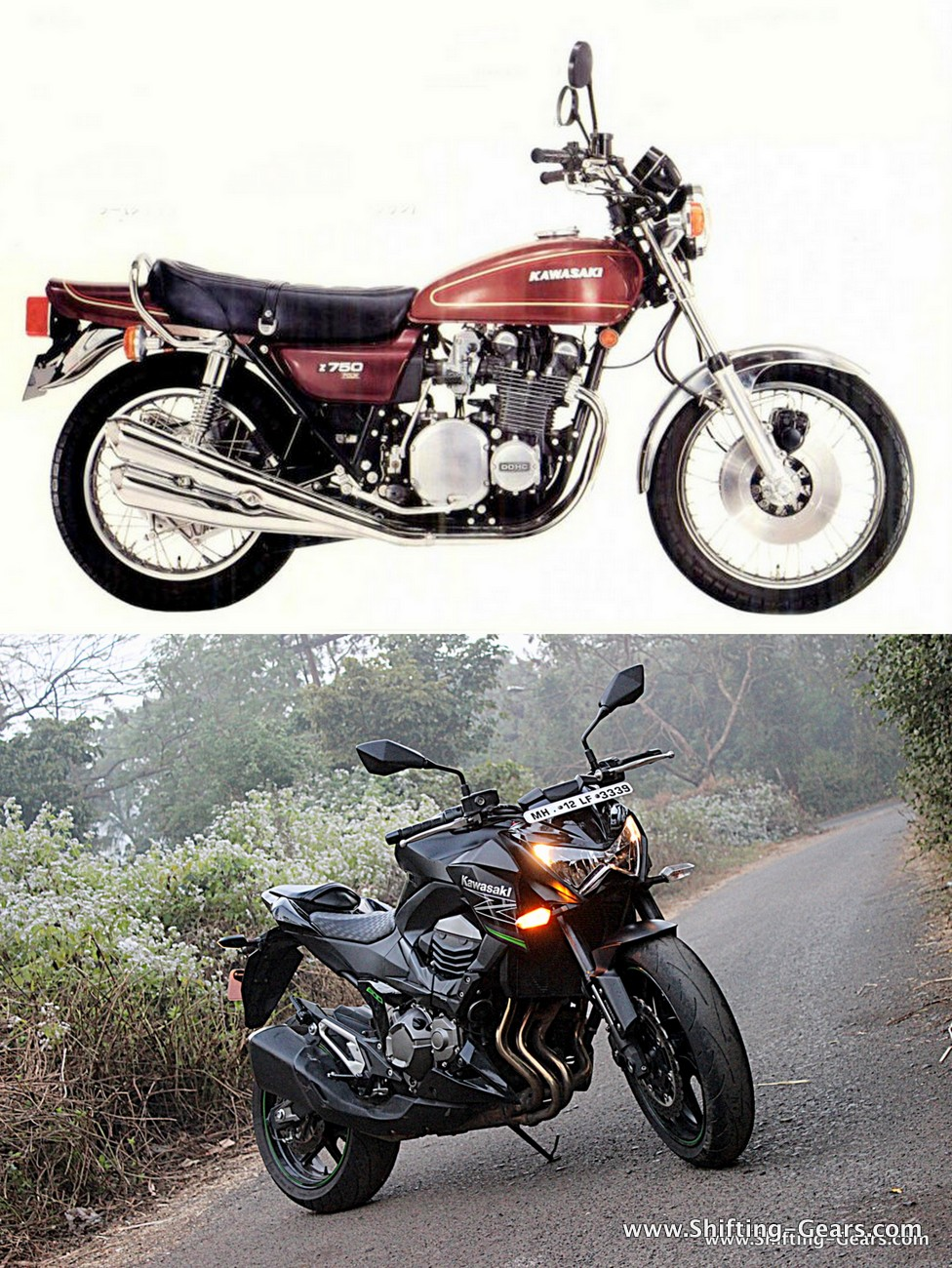 1976 Kawasaki Z750 on top and the latest Z800 below