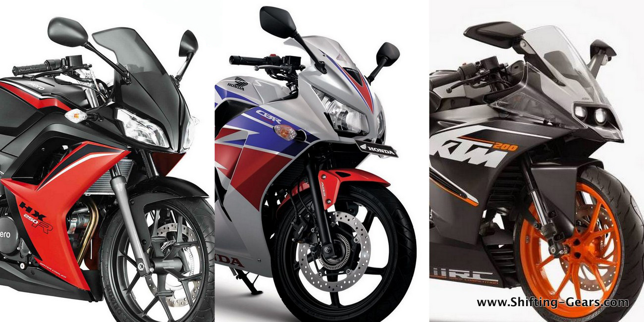 RC200 Vs. CBR250R Vs. HX250R: Specs comparo