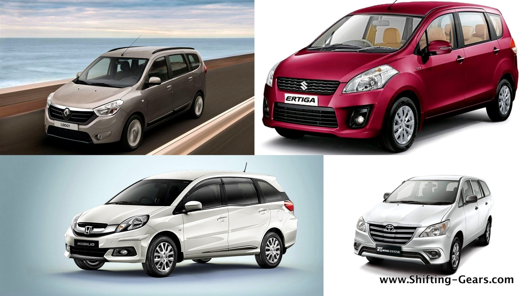 Lodgy is noticeably larger than the Ertiga & Mobilio; but smaller than the Innova