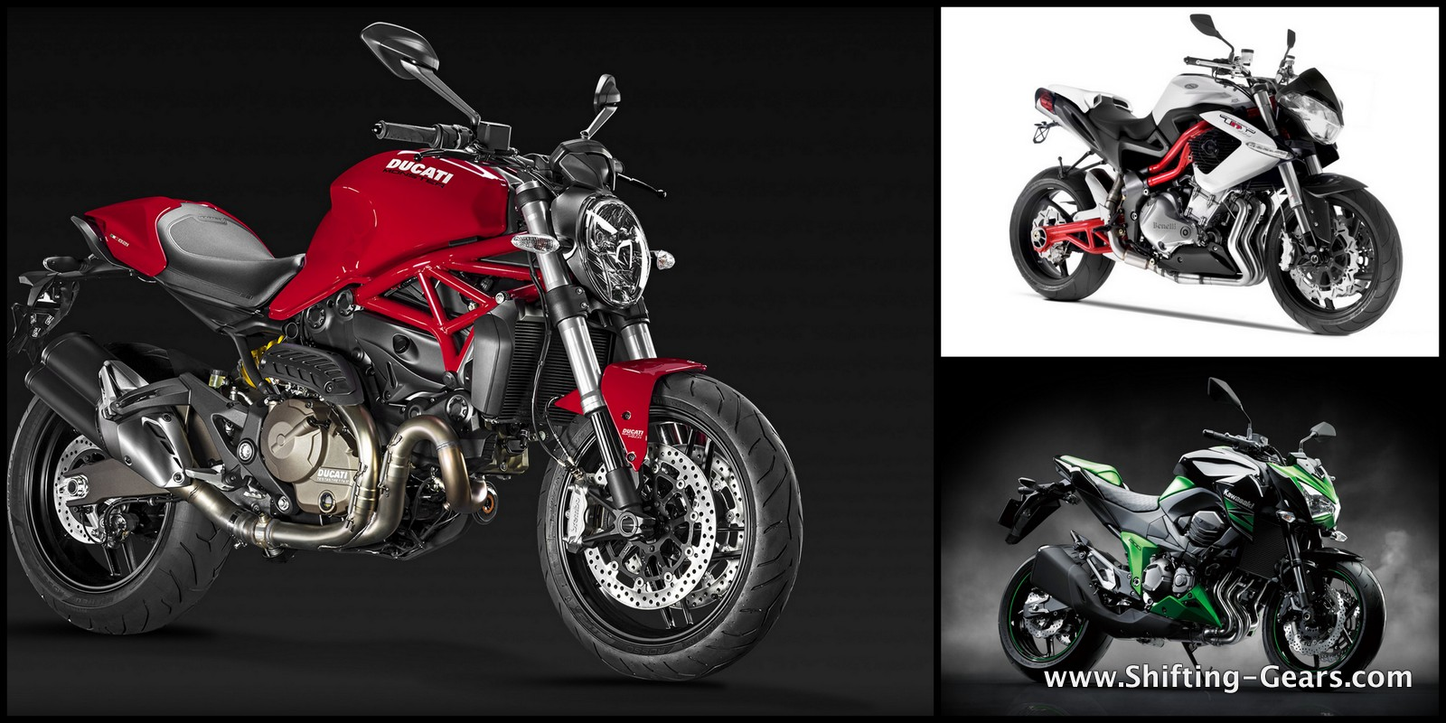 Ducati Monster 821 Vs. Kawasaki Z800 Vs. Benelli TNT 899