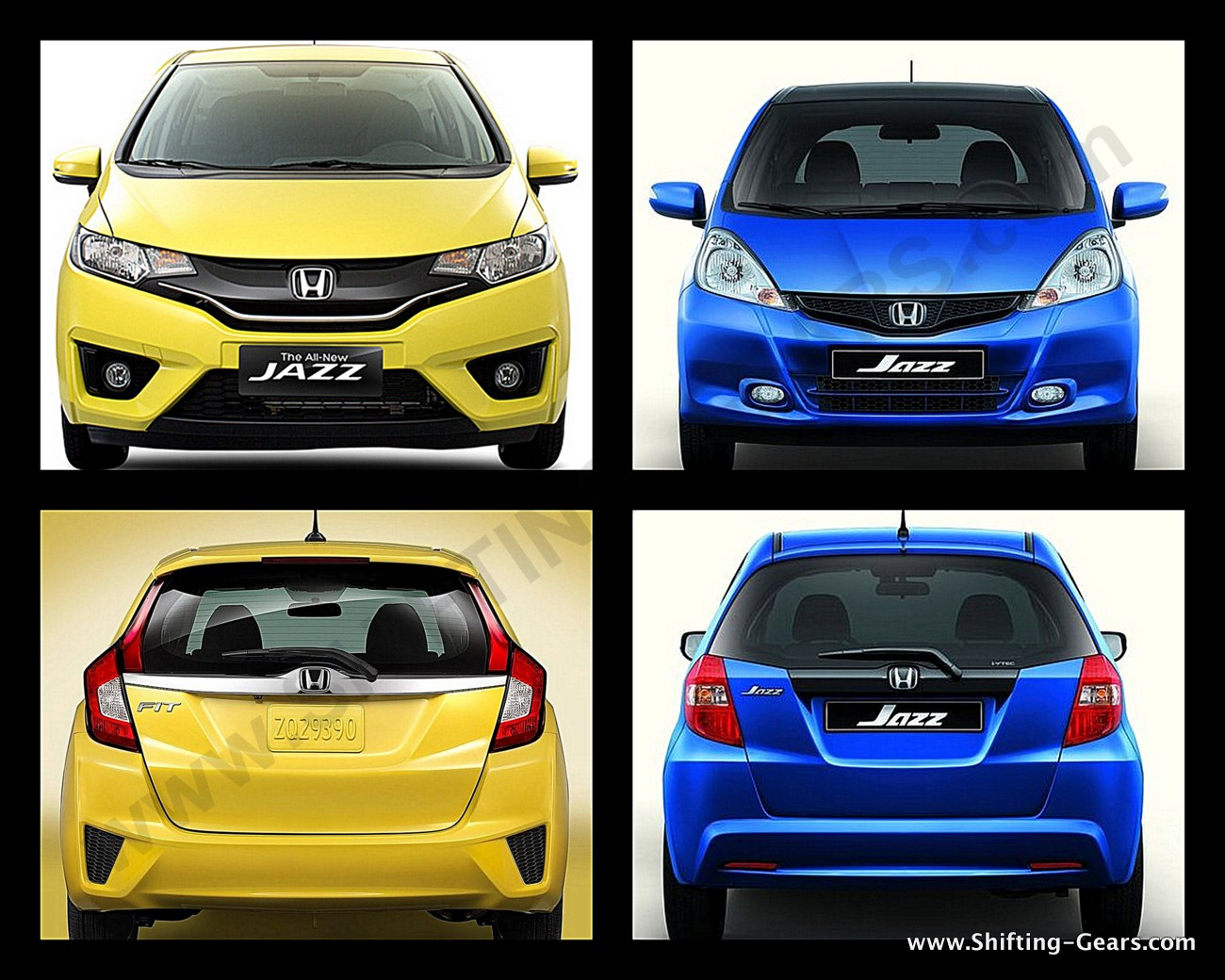 2nd generation Jazz (Blue) with the 3rd generation Jazz (Yellow)