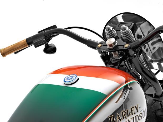 Indian flag themed Harley - Softail Crossbones