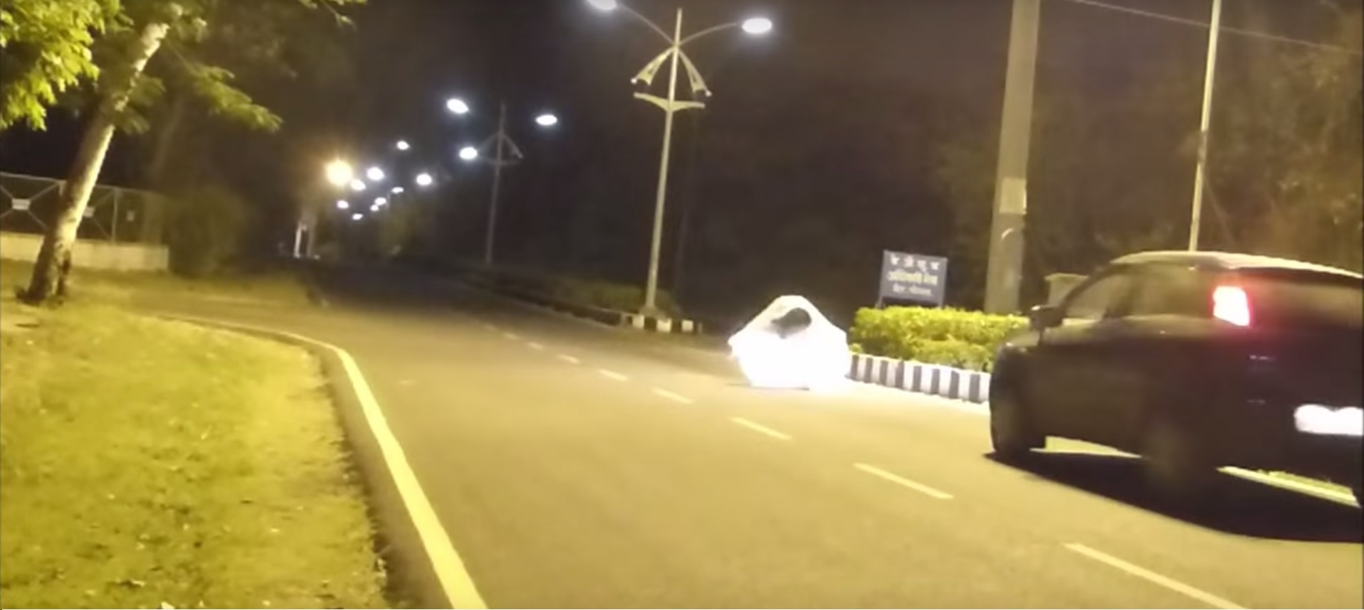 Ghost prank gone horribly wrong; driver knocks down prankster