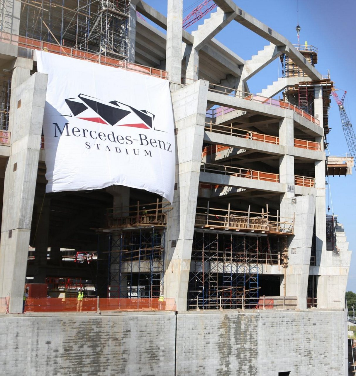Mercedes stadium in the making shifting gears for Parking at mercedes benz stadium