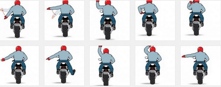 Hand signaling on a motorcycle