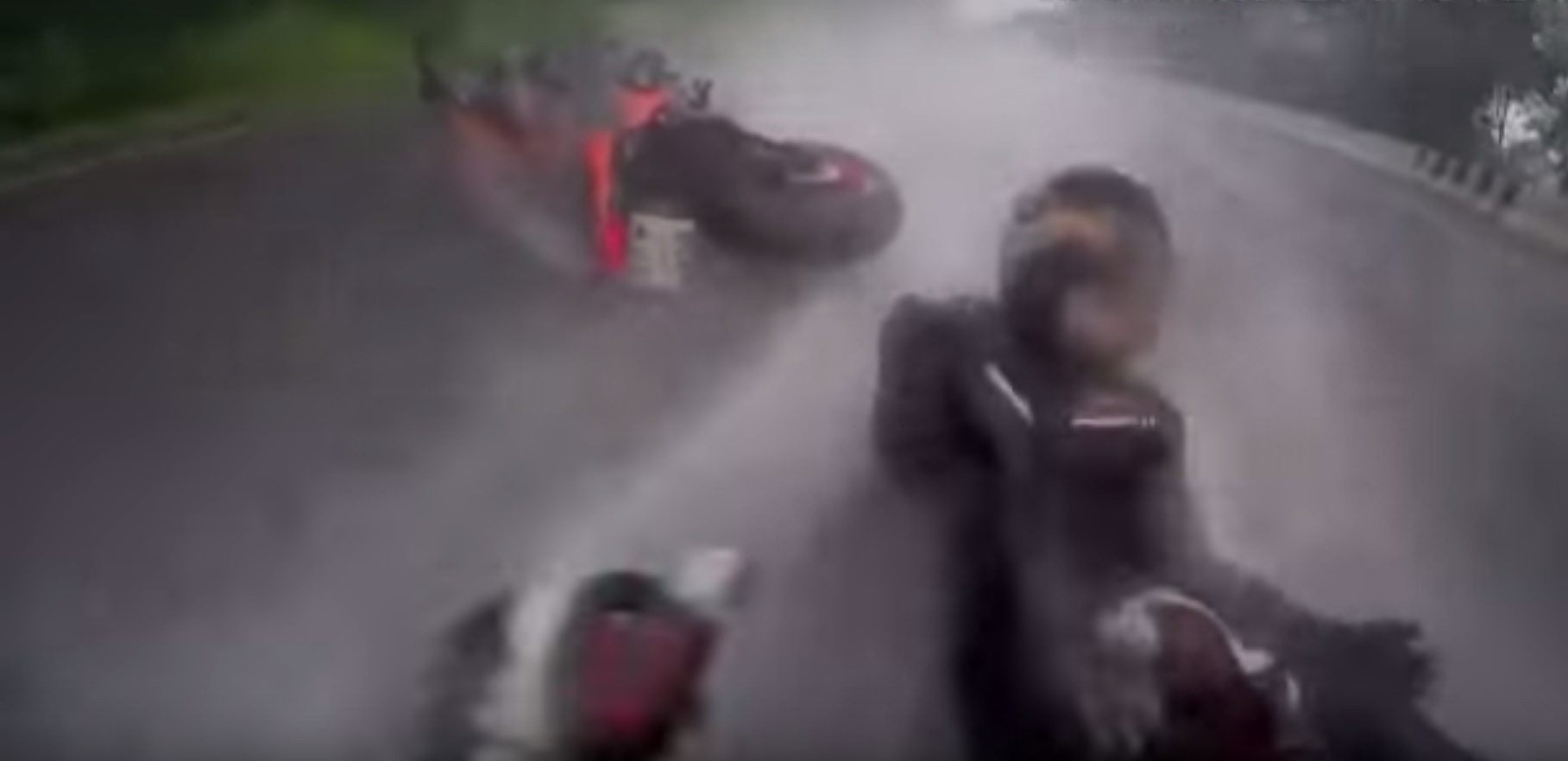Guy saves girl while crashing on a motorcycle – Insane!