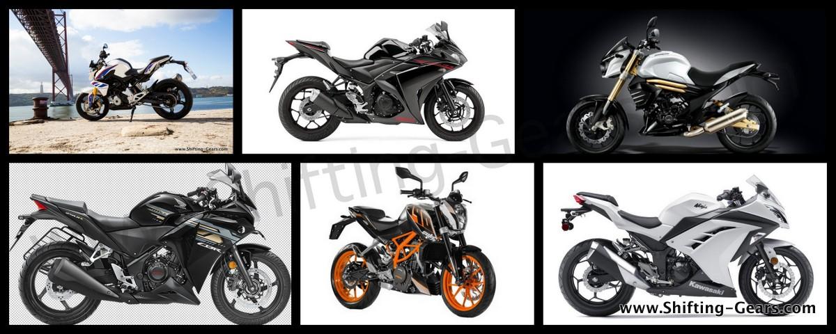 BMW G 310 R vs. KTM Duke 390, vs. Yamaha R3, vs. Honda CBR250R vs. Kawasaki Ninja 300 vs. Mahindra Mojo