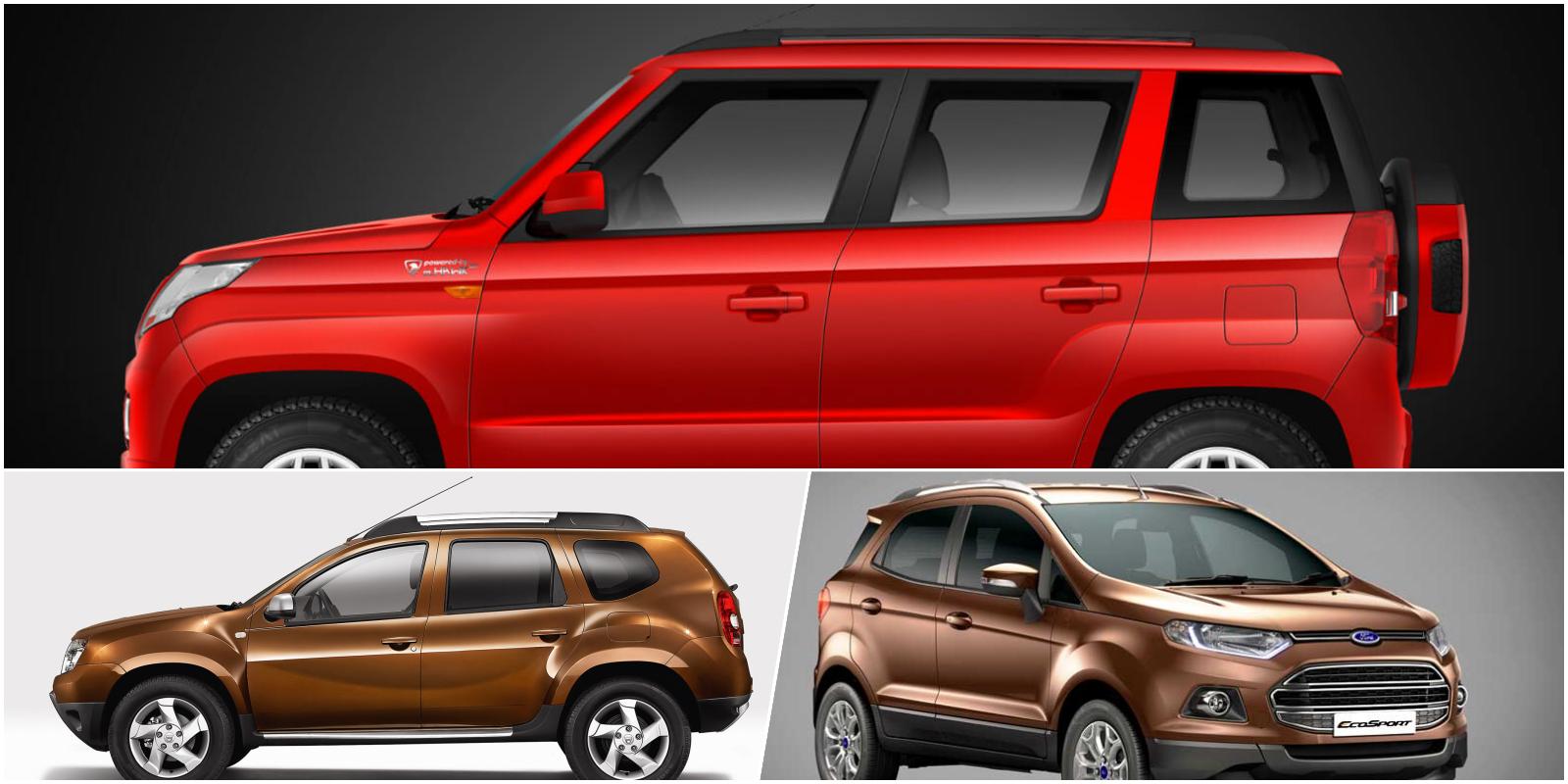 Mahindra TUV300 Vs. Ford EcoSport Vs. Renault Duster - Spec comparo