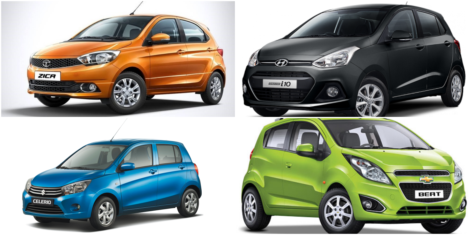 Chevrolet Beat Vs. Tata Zica Vs. Maruti Celerio Vs. Hyundai Grand i10