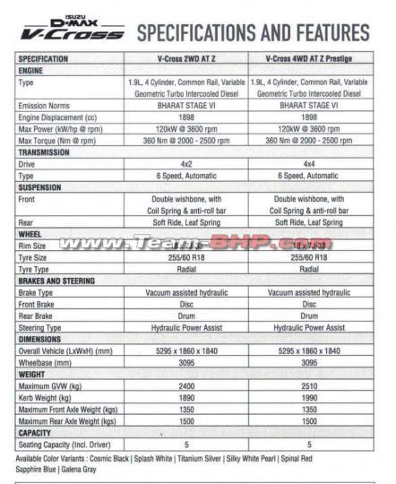 Isuzu V-Cross Specifications